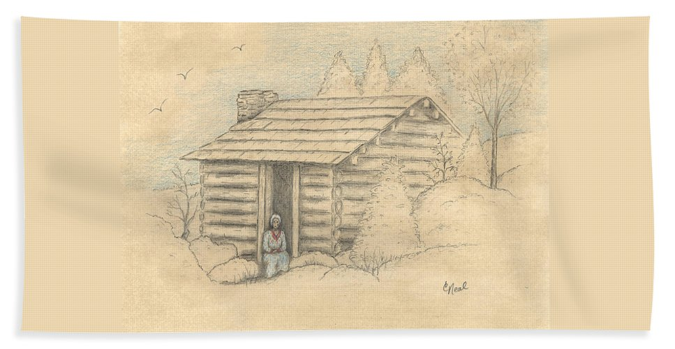 The Old Homeplace Hand Towel featuring the drawing The Old Homeplace by Carol Neal