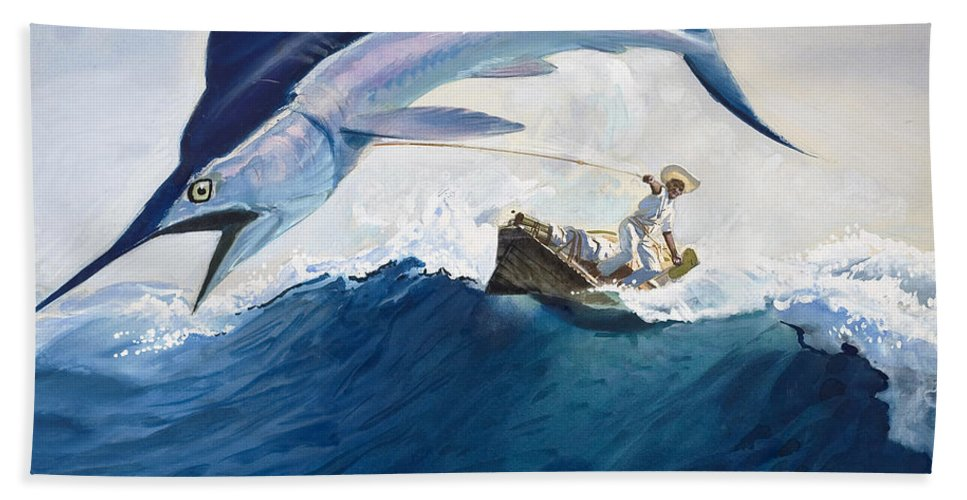 The Hand Towel featuring the painting The Old Man And The Sea by Harry G Seabright