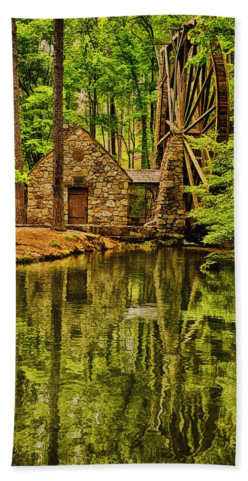 Digital Painting Bath Sheet featuring the photograph The Old Mill by Priscilla Burgers
