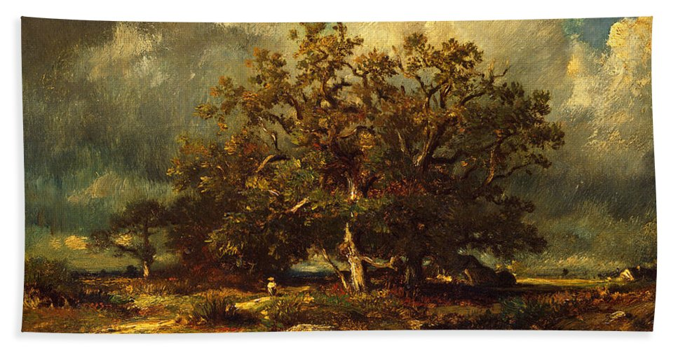 Jules Dupre Hand Towel featuring the painting The Old Oak by Jules Dupre
