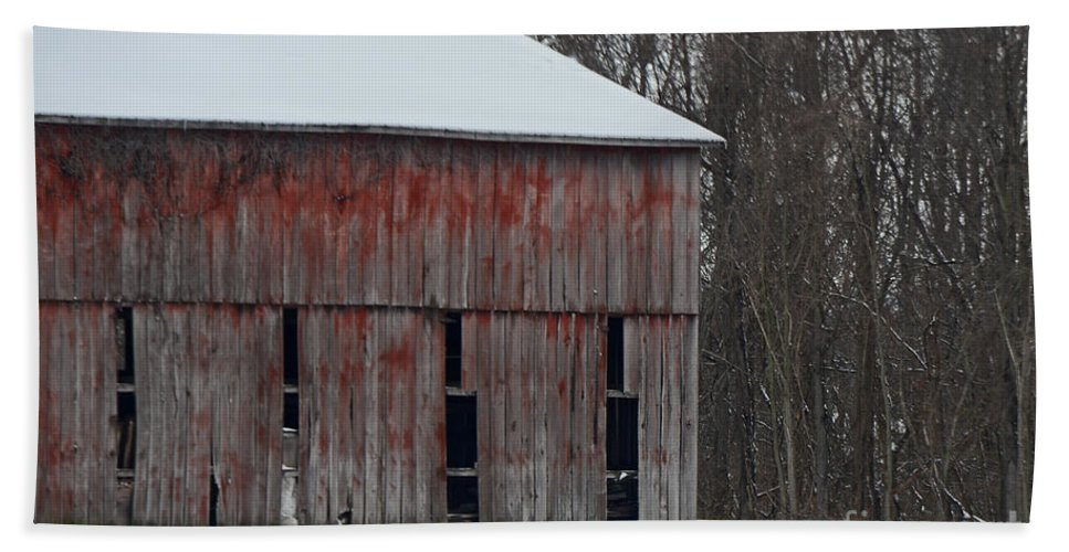 Rural Hand Towel featuring the photograph The Old Red Barn by Mary Carol Story