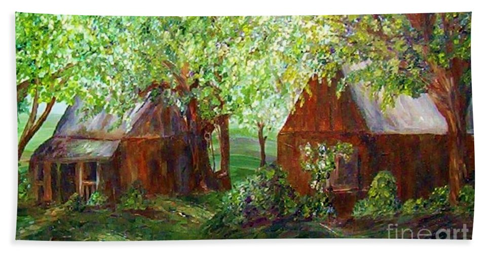 Landscape Bath Towel featuring the painting The Old Swing Between The House And The Barn by Eloise Schneider