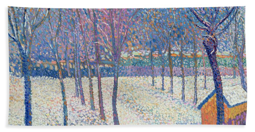 Pointillist Bath Sheet featuring the painting The Orchard Under The Snow by Hippolyte Petitjean