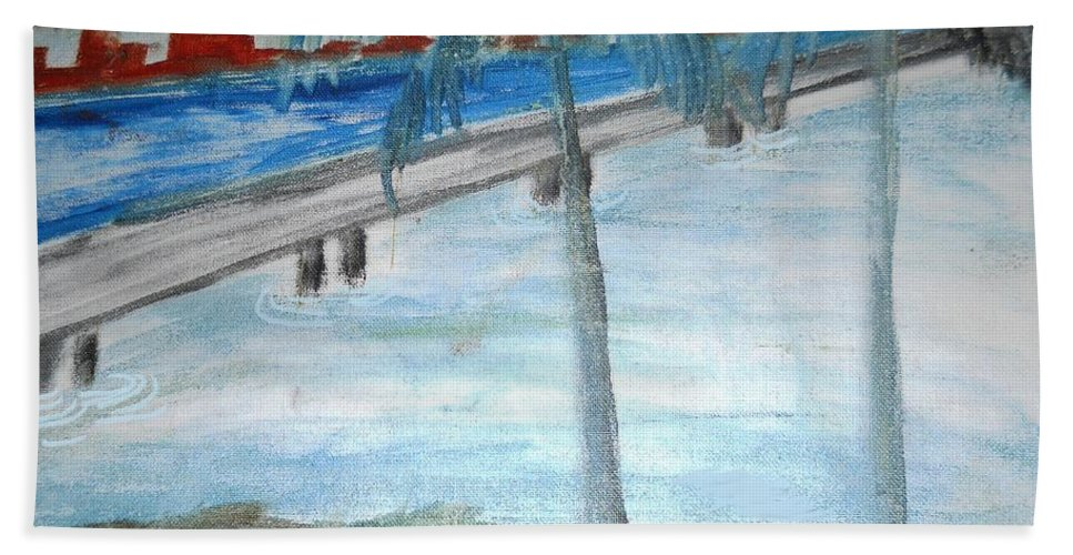 Landscape Bath Sheet featuring the painting The Other Side by Ayyappa Das