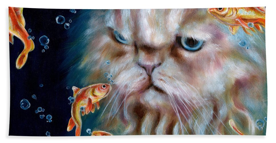 Cat Bath Sheet featuring the painting The Other Side Of Midnight by Hiroko Sakai