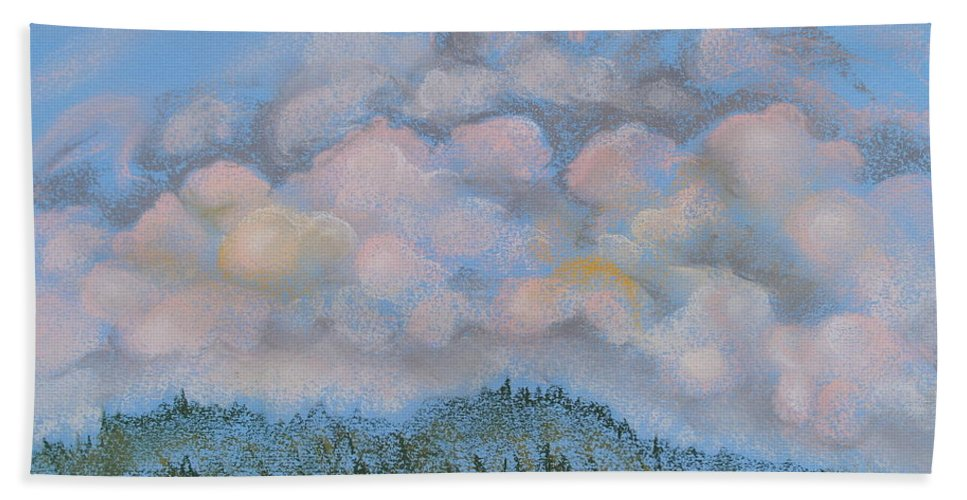 Pastels Hand Towel featuring the pastel The Other Side Of The Sunset by Michele Myers