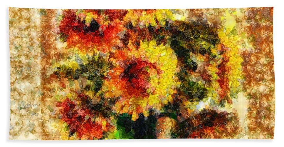 The Other Sunflowers Bath Sheet featuring the mixed media The Other Sunflowers by Mo T