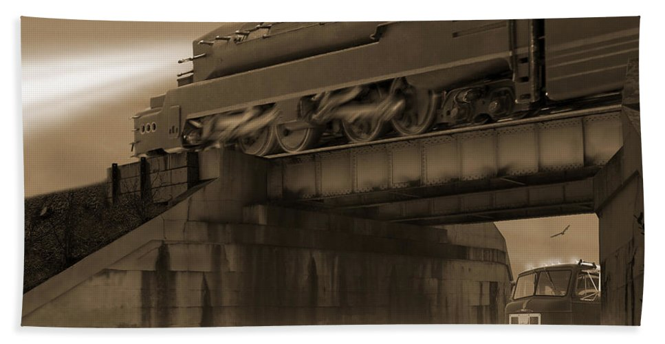 Transportation Bath Sheet featuring the photograph The Overpass 2 by Mike McGlothlen
