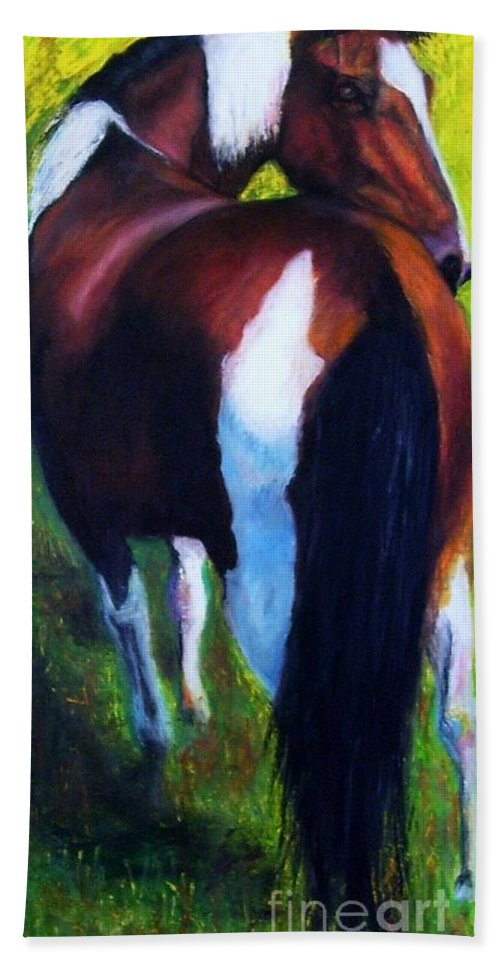 Horses Hand Towel featuring the painting The Paint by Frances Marino
