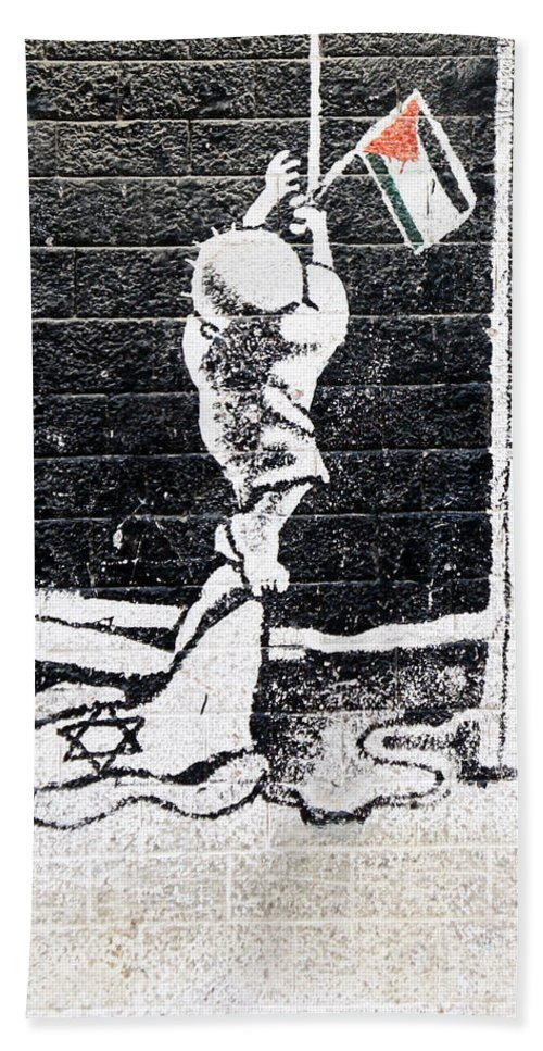 Handala Hand Towel featuring the painting The Palestinian Flag by Munir Alawi