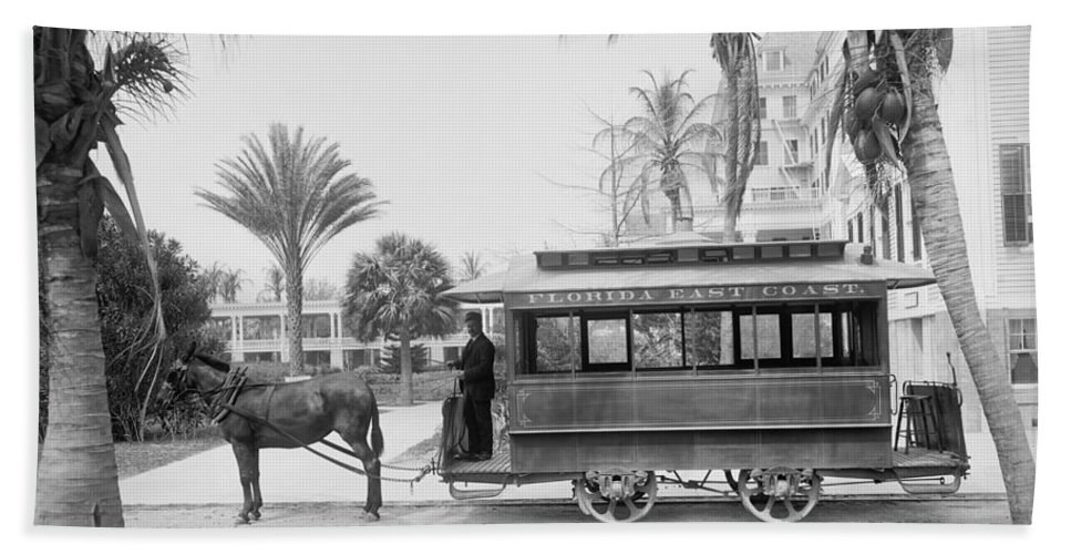 Palm Bath Sheet featuring the photograph The Palm Beach Trolley by Bill Cannon