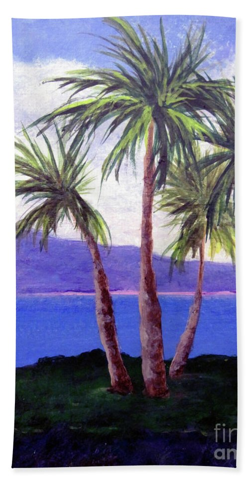 Ocean Hand Towel featuring the painting The Palms by Susan Plenzick