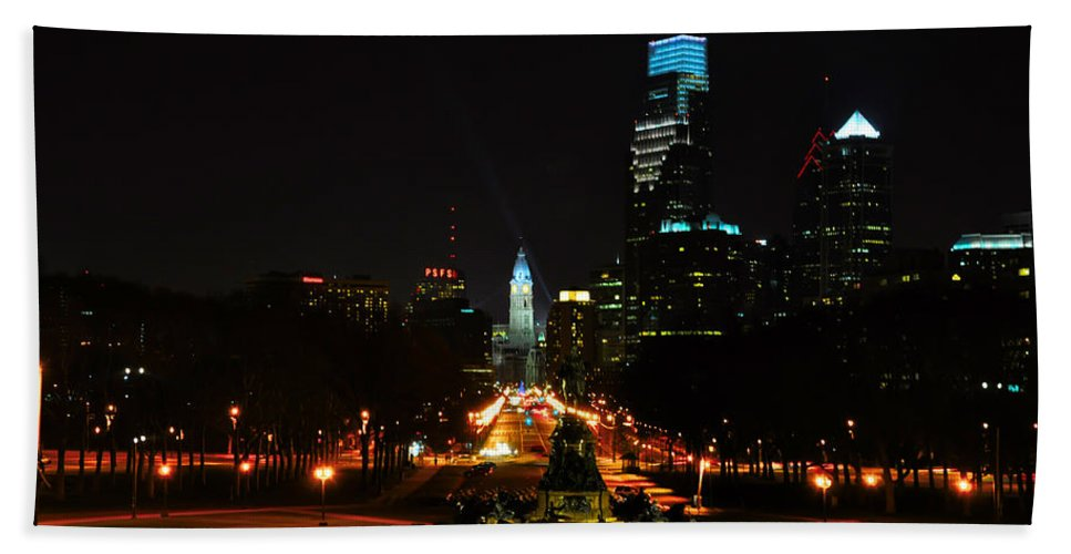 The Parkway At Night Hand Towel featuring the photograph The Parkway At Night by Bill Cannon