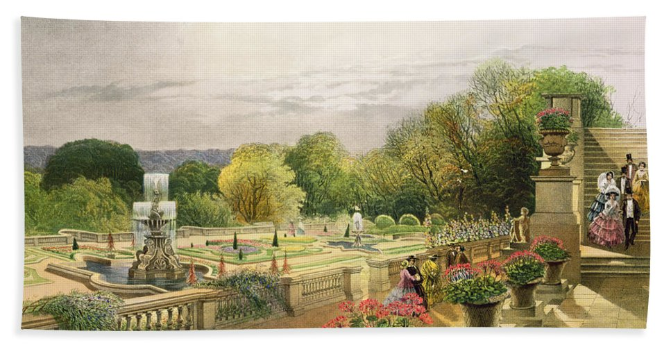 Garden Hand Towel featuring the painting The Parterre Harewood House Near Leeds by E Adveno Brooke