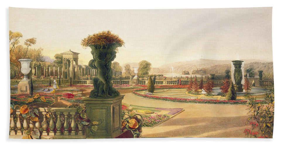 The Parterre Hand Towel featuring the painting The Parterre Trentham Hall Gardens by E Adveno Brooke