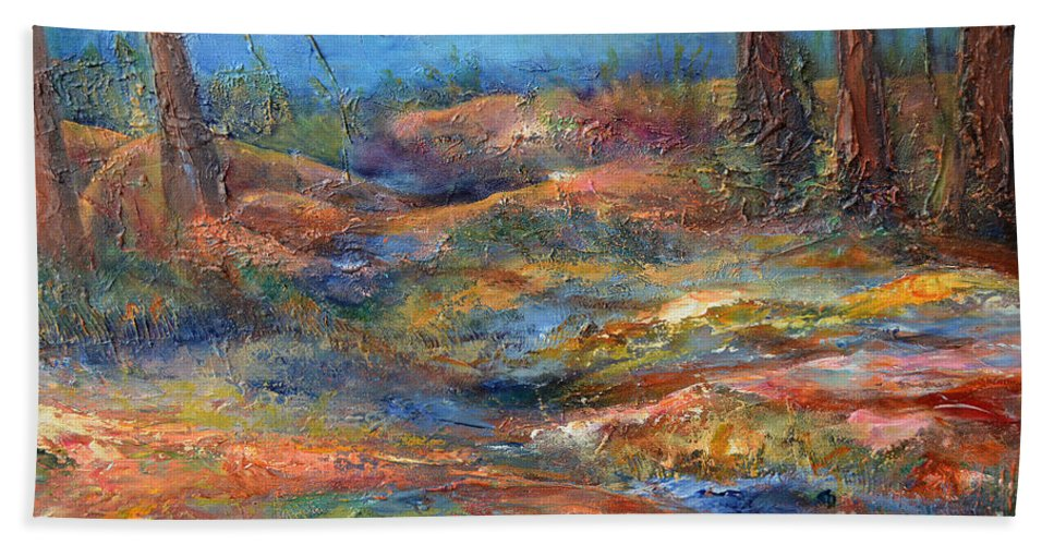 Nature Hand Towel featuring the painting The Path 1 by Claire Bull
