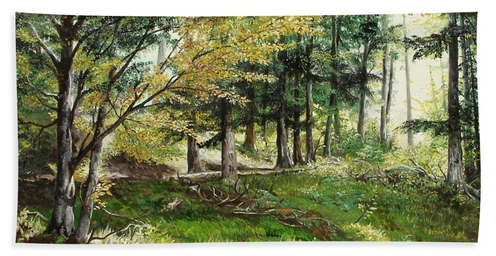 Forest Bath Sheet featuring the painting The Path by Sorin Apostolescu