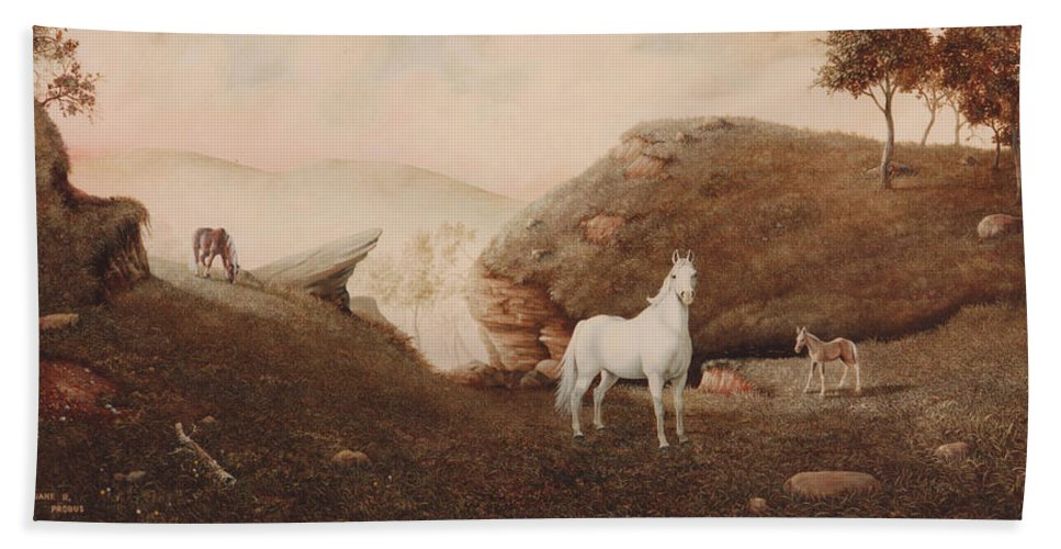Horse Hand Towel featuring the painting The Patriarch by Duane R Probus