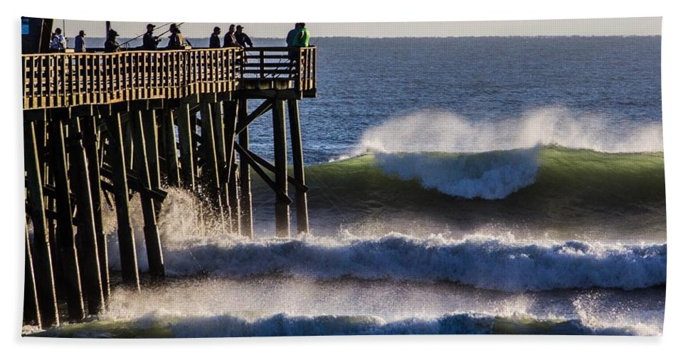 Surf Bath Sheet featuring the photograph The Peak by Tyson Kinnison