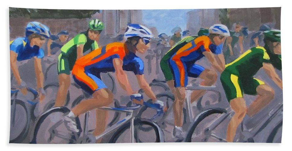 Bicycle Hand Towel featuring the painting The Peloton by Karen Ilari