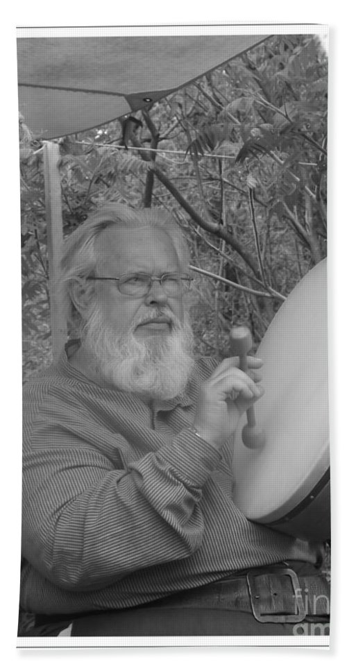 John Bond Bath Sheet featuring the photograph The Percussionist And Storyteller by Sara Raber
