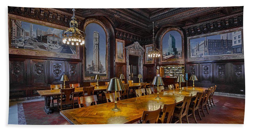 New York Public Library Hand Towel featuring the photograph The Periodicals Room At The New York Public Library by Susan Candelario