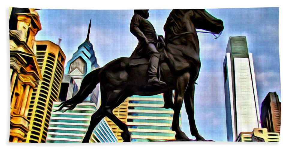 General Statue Horse Philadelphia City Buildings Alicegipsonphotographs Bath Sheet featuring the photograph The Philadelphia General by Alice Gipson