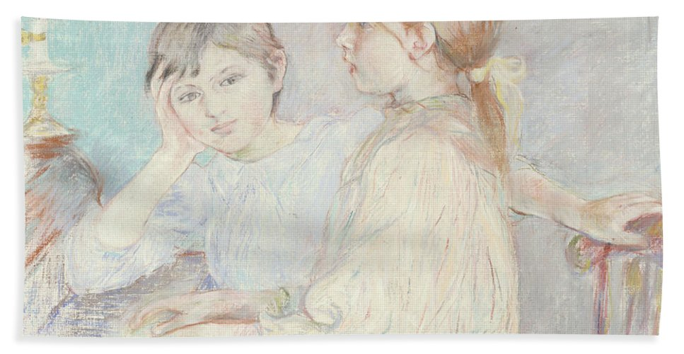 Male; Female; Boy; Girl; Playing; Practice; Practising; Brother; Sister; Ennui; Concentration; Interior; Impressionist; Portrait; Three-quarter Length Bath Sheet featuring the pastel The Piano by Berthe Morisot