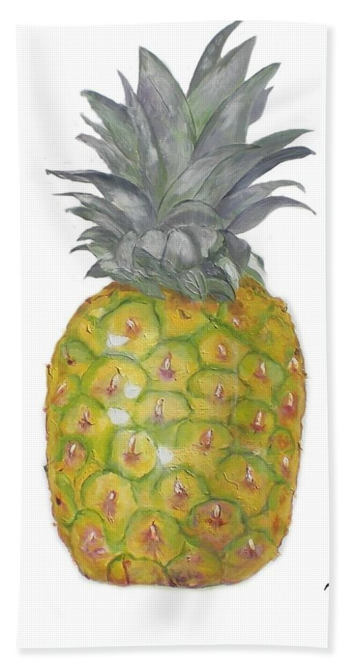 Artichoke Bath Sheet featuring the painting The Pineapple On White by Graciela Castro