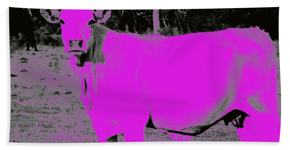 Pink Hand Towel featuring the photograph the Pink Cow by George Pedro