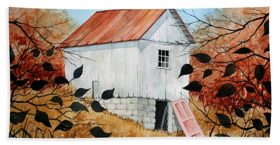 Barn Hand Towel featuring the painting The Pink Door by Jim Gerkin
