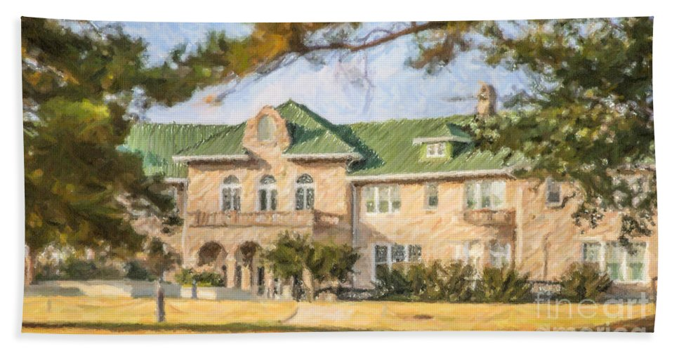 The Pink Palace Hand Towel featuring the digital art The Pink Palace Museum Memphis Tn Usa by Liz Leyden