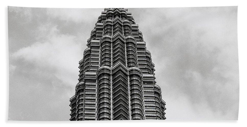 Petronas Towers Bath Sheet featuring the photograph The Pinnacle by Shaun Higson