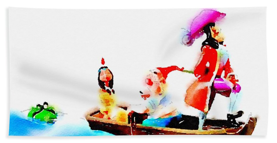 Disney Bath Sheet featuring the painting The Pirate by Helge