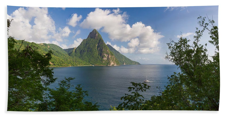 Landscape Bath Sheet featuring the photograph The Piton by Ferry Zievinger