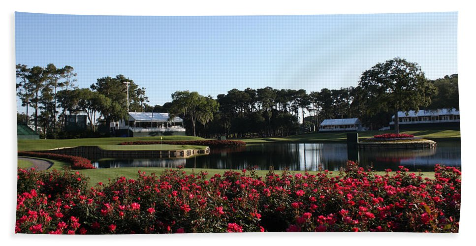 Florida Bath Sheet featuring the photograph The Players - Tpc Sawgrass Island Green 17th by Ronald Reid