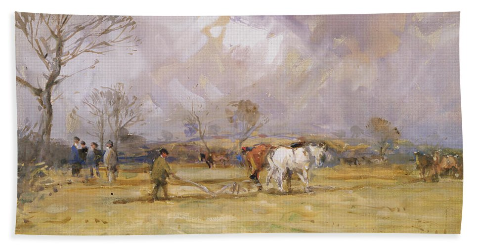 Plow Bath Towel featuring the painting The Plough Team by John Atkinson