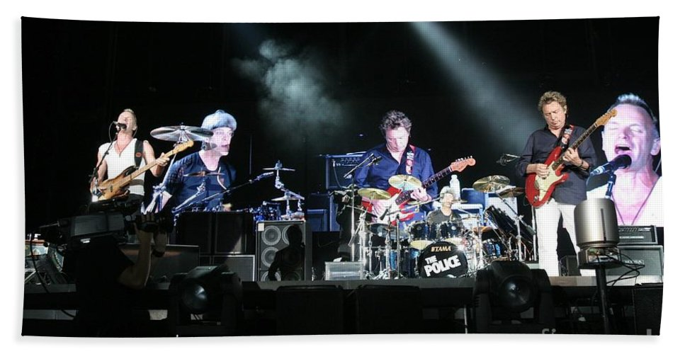 Performance Bath Sheet featuring the photograph The Police by Concert Photos