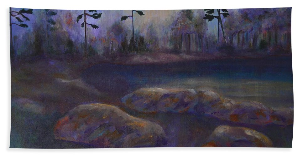 Pond Hand Towel featuring the painting The Pond by Claire Bull