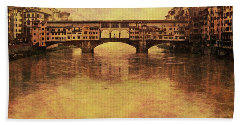 Ponte Vecchio Hand Towel featuring the photograph The Ponte Vecchio In Florence Italy by Greg Matchick