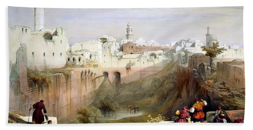 Pool Of Bethesda Hand Towel featuring the photograph The Pool Of Bethesda Jerusalem by Munir Alawi