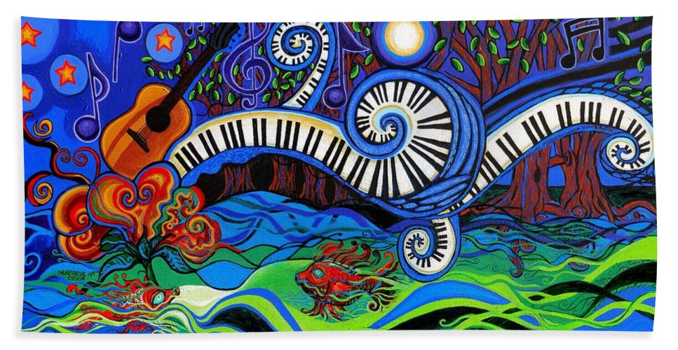 Music Hand Towel featuring the painting The Power Of Music by Genevieve Esson