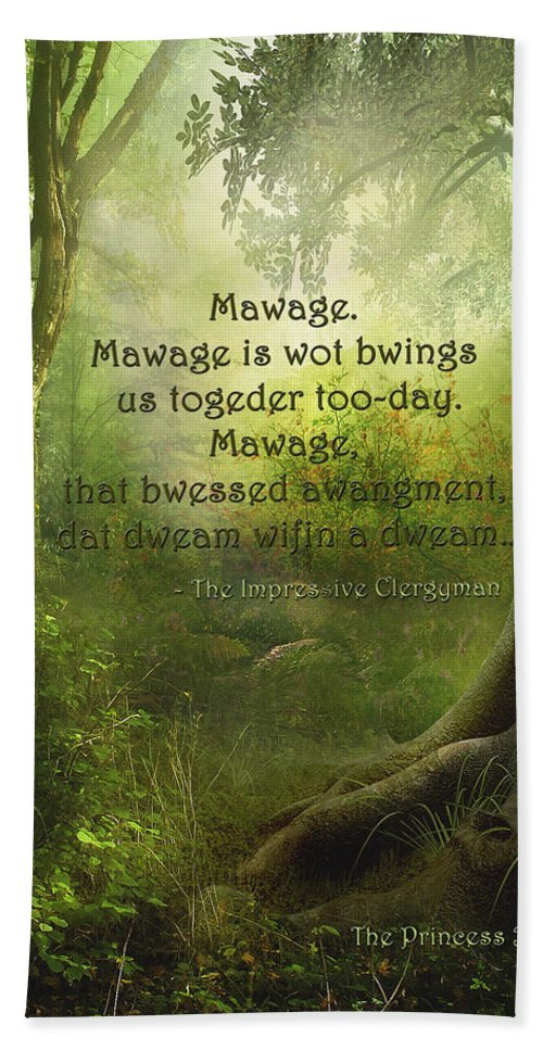 Featured Hand Towel featuring the digital art The Princess Bride - Mawage by Paulette B Wright