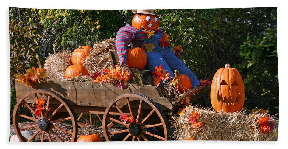 Pumpkin Bath Sheet featuring the photograph The Pumpkin Farmer by Hugh Carino