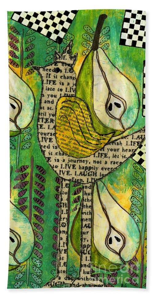 Birds Bath Sheet featuring the mixed media The Queen Of Pears by Angela L Walker