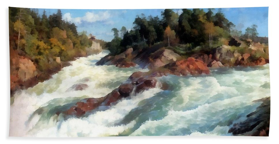 The Raging Rapids Bath Sheet featuring the digital art The Raging Rapids by Peder Mork Monsted