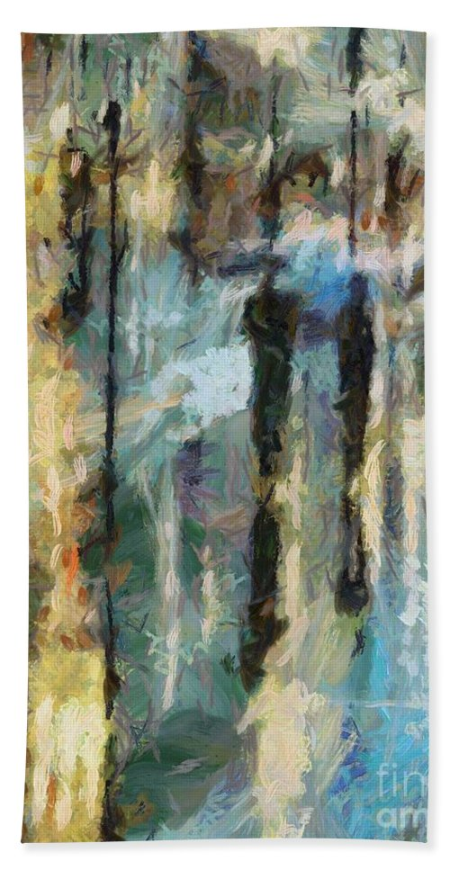 Landscapes Hand Towel featuring the painting The Rain In Paris by Dragica Micki Fortuna