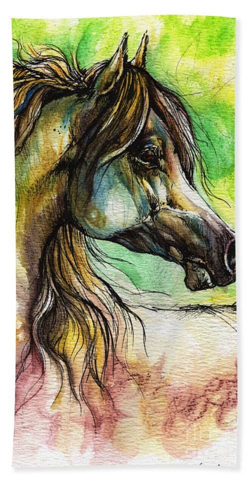 Horse Hand Towel featuring the painting The Rainbow Colored Arabian Horse by Angel Ciesniarska