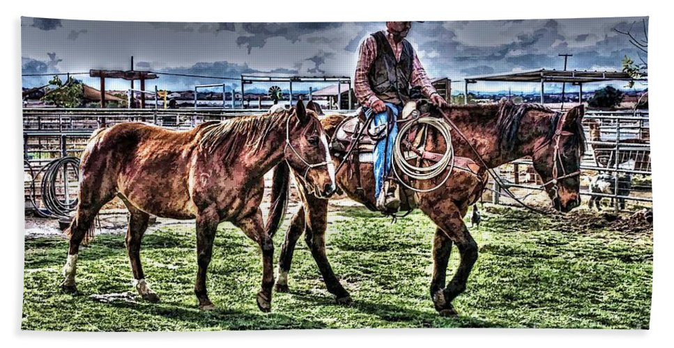 Cowboy Bath Sheet featuring the photograph The Ranch by Tommy Anderson