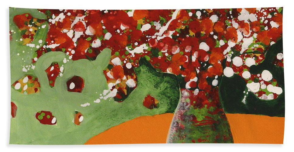 Abstract Flower Bouquet Paintings Hand Towel featuring the painting The Red And Green Vase by Marta Tollerup